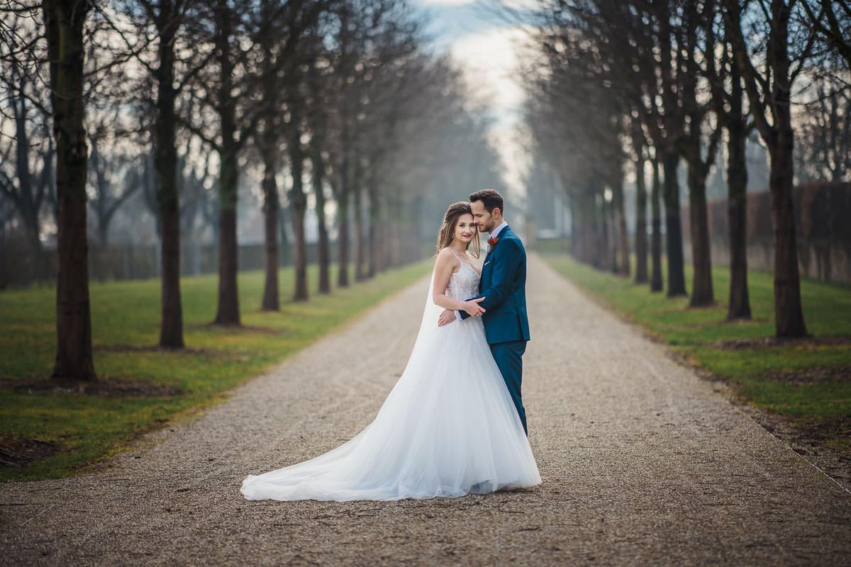 Hochzeitsfotos im Winter im Garten Schloss Ludwigsburg