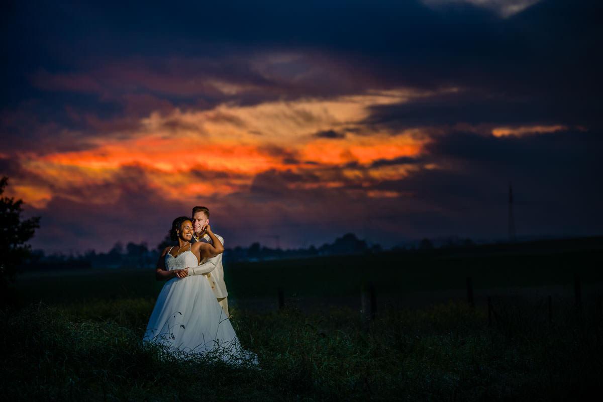 Hochzeitsbild nach dem Regen