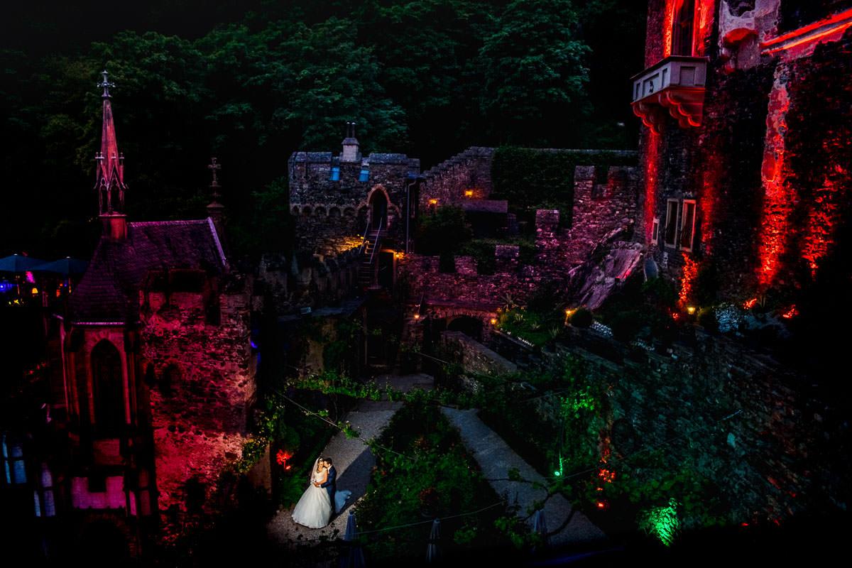 Burg Rheinstein Hochzeitsfoto bei Nacht